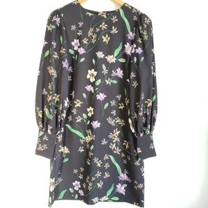 H&M Floral Print Midi Long Sleeve Dress Size Small